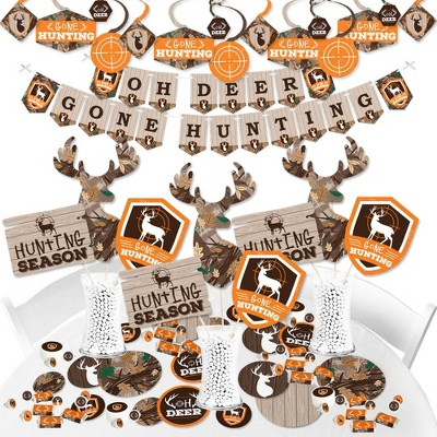 Big Dot of Happiness Gone Hunting - Deer Hunting Camo Baby Shower or Birthday Party Supplies - Banner Decoration Kit - Fundle Bundle