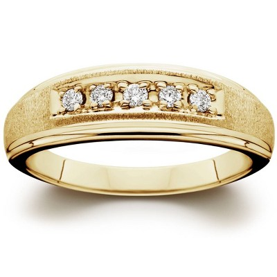Pompeii3 Mens 1/6ct 14K Yellow Gold Diamond Wedding Ring Band
