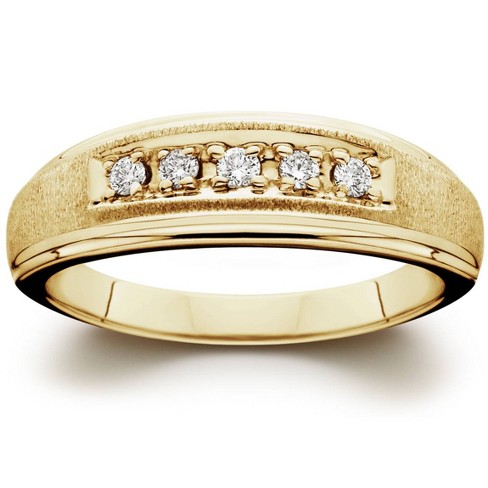 Pompeii3 Mens 1/6ct 14K Yellow Gold Diamond Wedding Ring Band - image 1 of 4