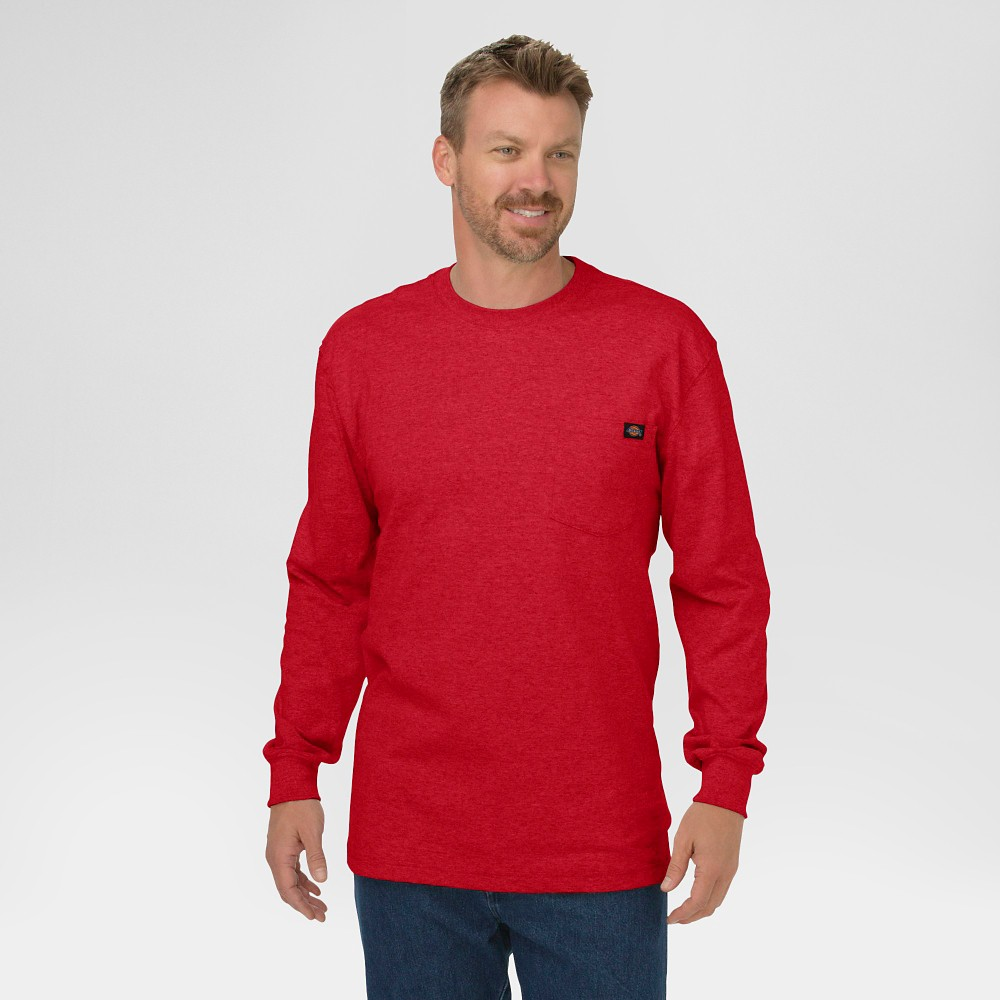 Dickies Men's Big & Tall Cotton Heavyweight Long Sleeve Pocket T-Shirt- English Red Xxl Tall