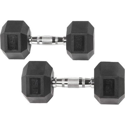 Sporzon Exercise Equipment Rubber Encased Pair of Hexagon Handheld Weight Dumbbells with Contoured Non Slip Handles for Home Fitness, 25 Pounds