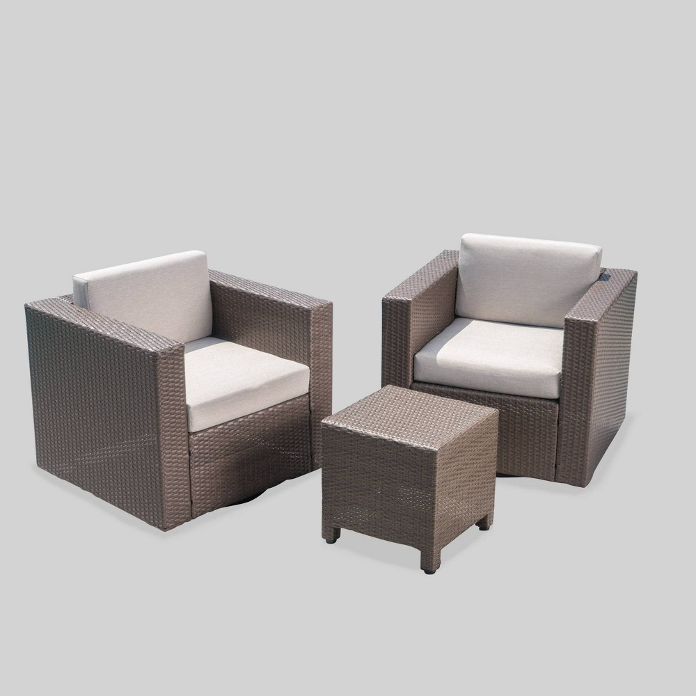 Brilliant Puerta 3Pc Wicker Outdoor Patio Swivel Chat Set Browngray Cjindustries Chair Design For Home Cjindustriesco