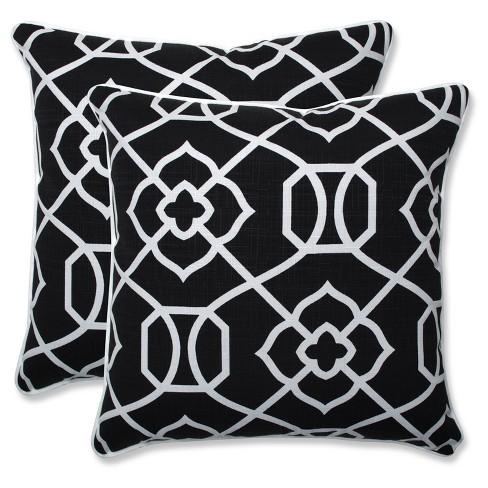 Outdoor/Indoor Kirkland Black Throw Pillow Set of 2 - Pillow Perfect
