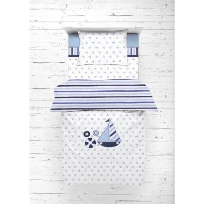 Bacati - Little Sailor Anchor Boat Blue Navy 4 pc Toddler Bedding Set