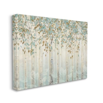 Stupell Industries Abstract Forest Leaves Trees Blue Tan Soft Painting