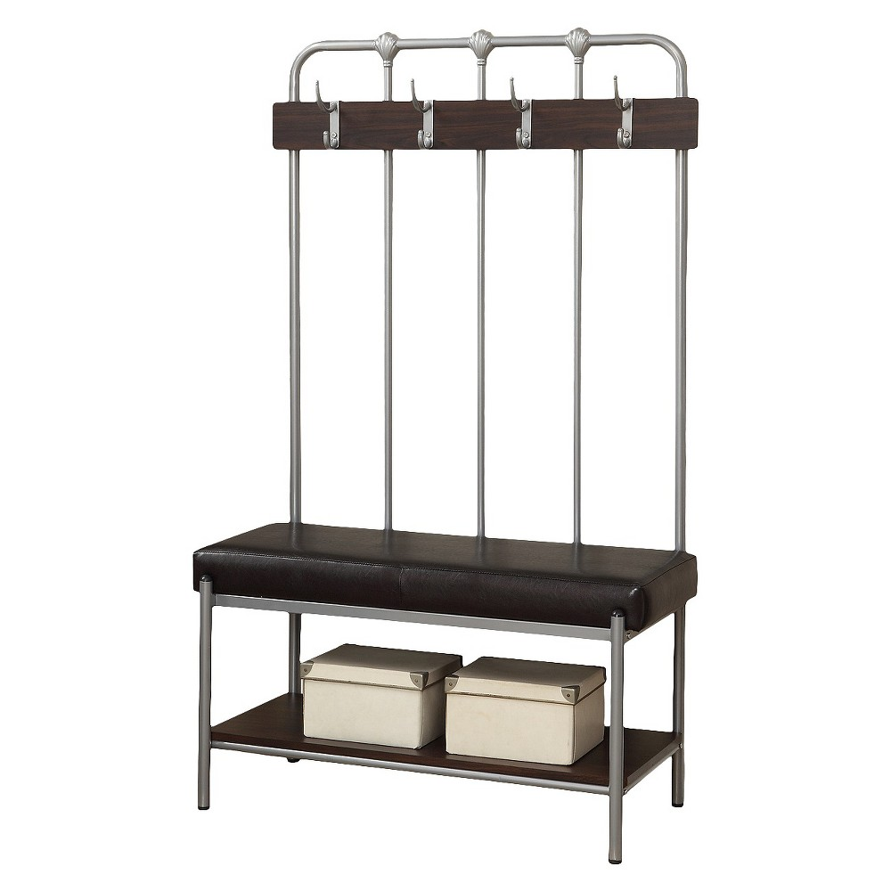 Metal Entry Bench with Coat Rack - Silver (60) - EveryRoom
