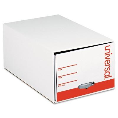"Universal Storage Box Drawer Files Letter Fiberboard 12"" x 24"" x 10"" White 6/Carton 85120"