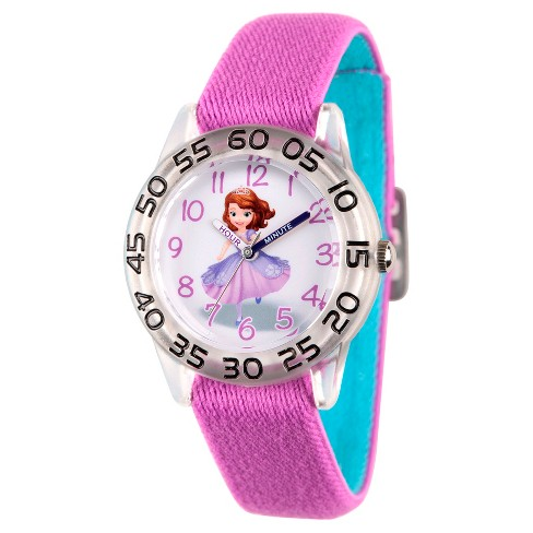 Girls' Disney Princess Sofia Clear Plastic Time Teacher Watch - Purple - image 1 of 1