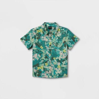 Toddler Boys' Tropical Floral Short Sleeve Button-Down Shirt - art class™ Teal