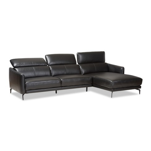 Paige Modern And Contemporary Leather Right Facing Chaise 2pc