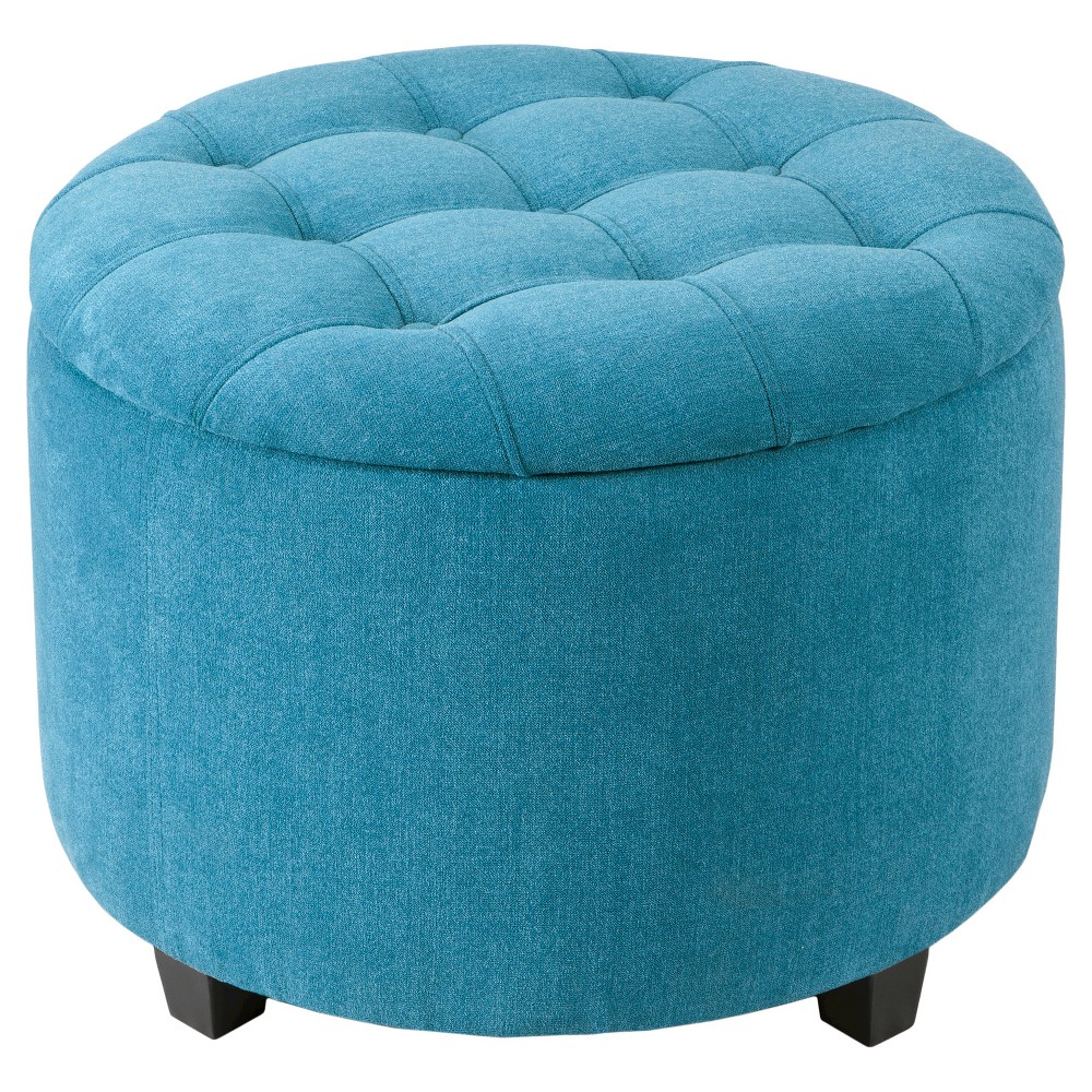 Tufted Storage Ottoman Teal (Blue)