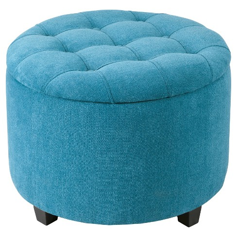 Tufted Storage Ottoman Teal - image 1 of 5