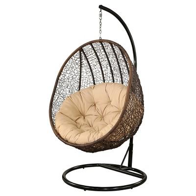 Milania Outdoor Wicker Swing Chair   Espresso   Abbyson Living