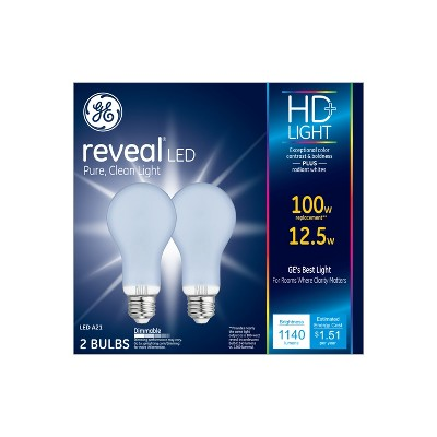 100W Reveal 2pk Aline LED Light Bulb White - General Electric
