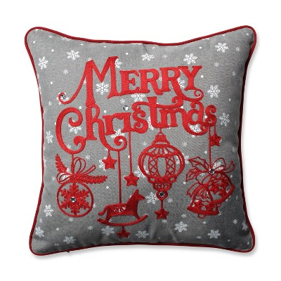 """16.5"""" x16.5"""" Snowy Christmas Square Throw Pillow - Pillow Perfect"""