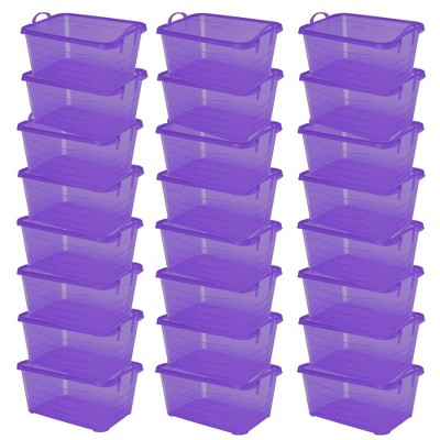 Life Story Purple Stackable Closet Storage Box Container, 55 Quart (24 Pack)
