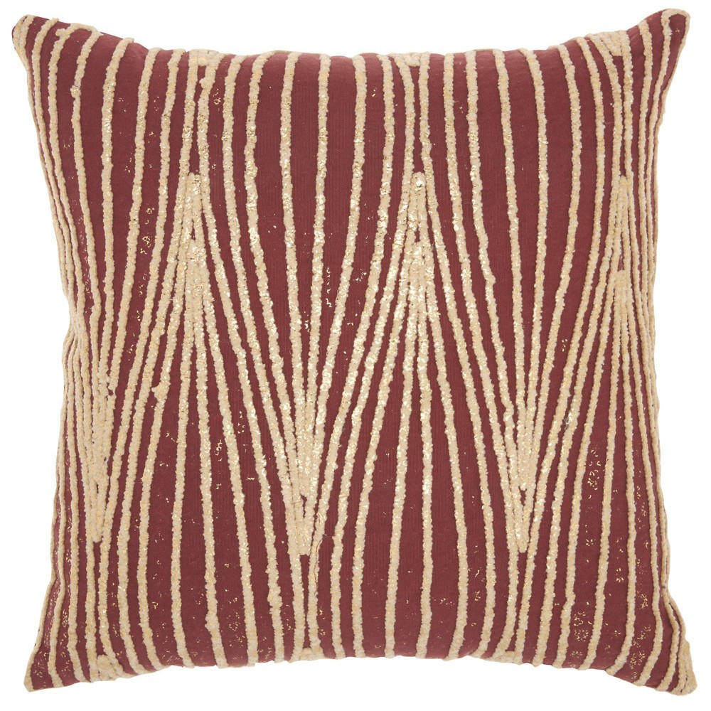 Image of Life Styles Metallic Wavy Lines Square Throw Pillow Maroon - Mina Victory, Red