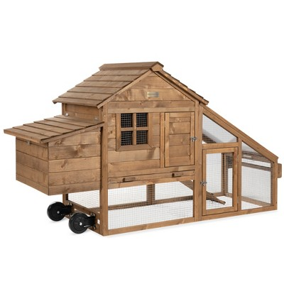 Best Choice Products 70in Mobile Fir Wood Chicken Coop Tractor Hen House w/ Wheels, 2 Doors, Nest Box, Removable Tray