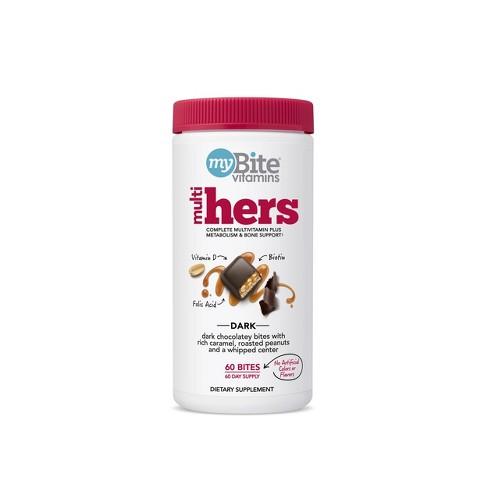 MyBite Hers - Women's Multivitamin Chewables - Dark Chocolatey Peanut - 60ct - image 1 of 4