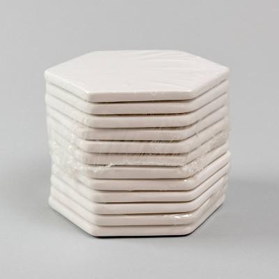 12ct White Ceramic Paintable Hexagon Coasters  - Bullseye's Playground™