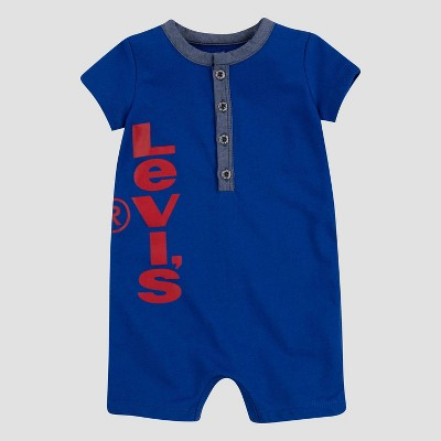 Levi's® Baby Boys' Chambray Henley Coveralls - True Blue 6M