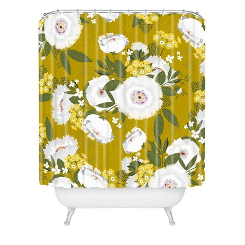 Fleurette Midday Shower Curtain Olive Green