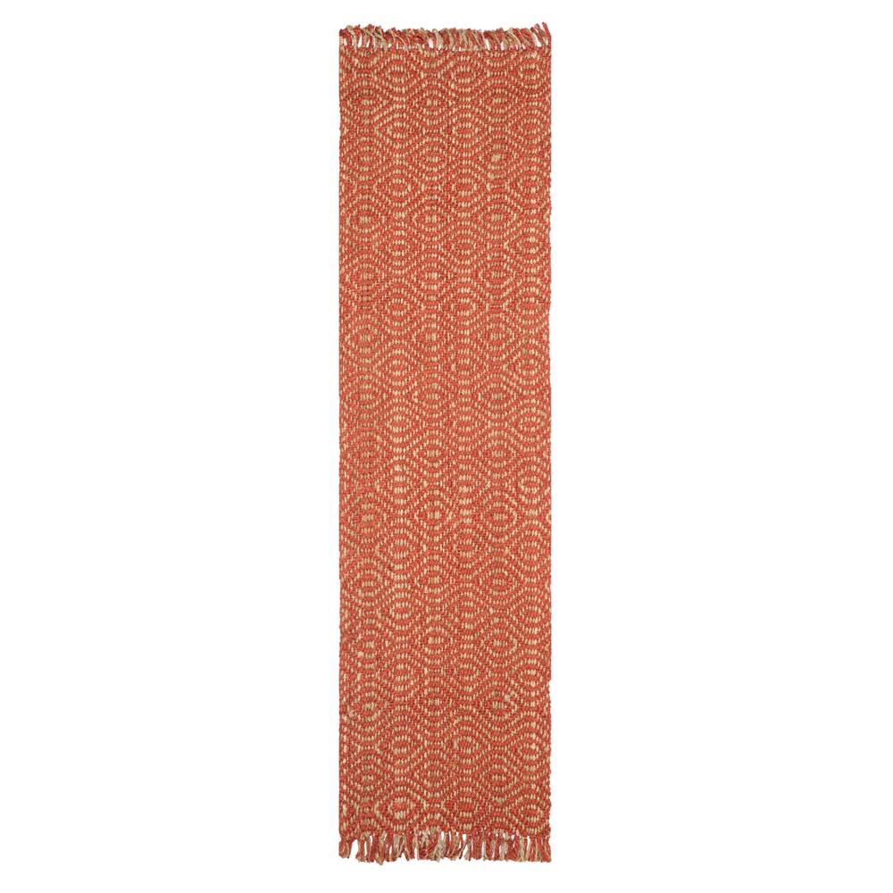 Rust Geometric Woven Runner 2'6X16' - Safavieh, Red