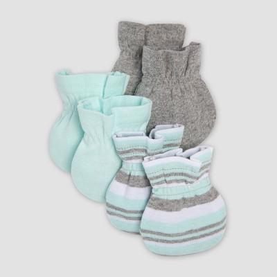 Burt's Bees Baby® Organic Cotton Boys' 3pk Mittens - Aqua/Gray