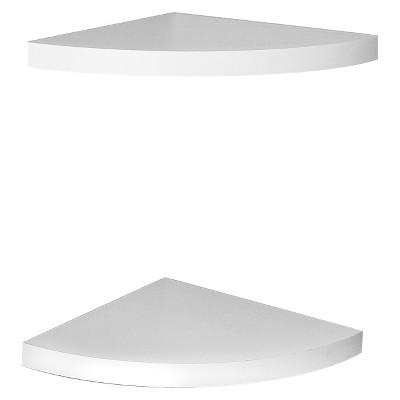 2 Pack Corner Shelving Set White