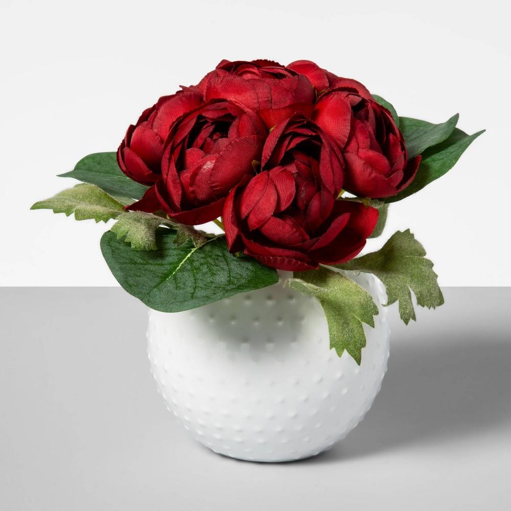 "Image of ""5.5"""" x 4"""" Artificial Ranunculus Arrangement in Ceramic Pot Red/Green - Opalhouse"""