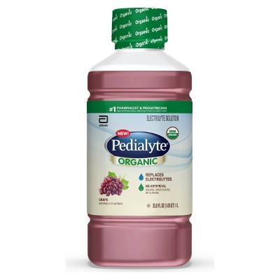 Pedialyte Organic Oral Electrolyte Solution - Fresh Grape - 33.8 fl oz