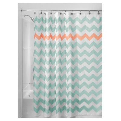 Shower Curtain Polyester Chevron Standard Turquoise/Coral - InterDesign