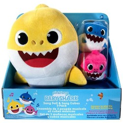 Pinkfong Baby Shark 10-Inch Plush Doll with Sound and Song Cubes 3-Pack