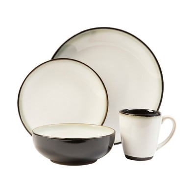16pc Stoneware Nova Dinnerware Set White/Black - Sango