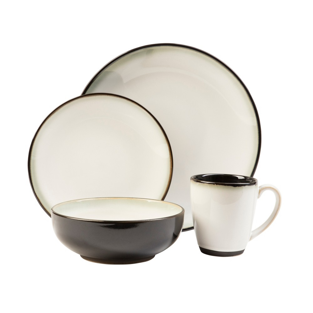 Image of 16pc Stoneware Nova Dinnerware Set White/Black - Sango