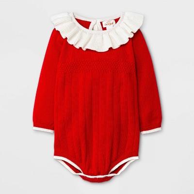 Baby Girls' Sweater Romper - Cat & Jack™ Red 0-3M