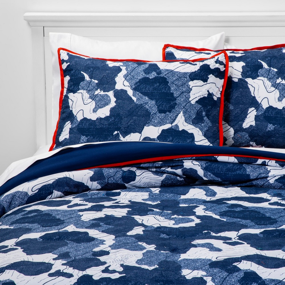 Image of 2pc Twin Abstract Adventure Microfiber Comforter Set Navy - Pillowfort , Blue