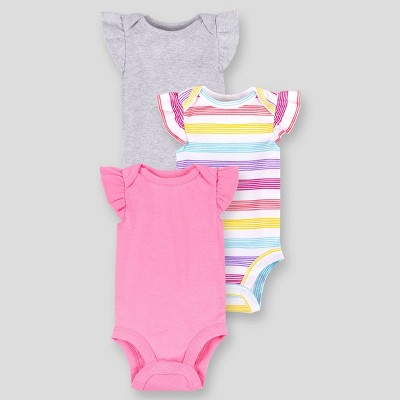 Lamaze Baby Girls' 3pk Striped and Solid Flutter Sleeve Bodysuit - Pink 24M