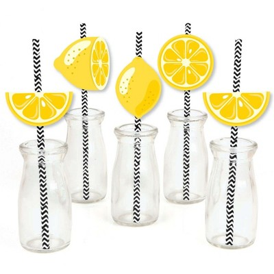 Big Dot of Happiness So Fresh - Lemon - Paper Straw Decor - Citrus Lemonade Party Striped Decorative Straws - Set of 24
