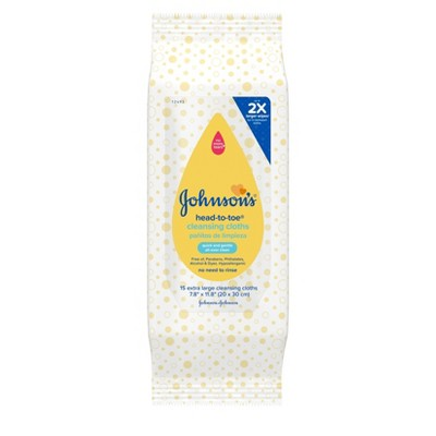 Johnson's Baby Head-to-Toe Cleansing Cloths - 15ct