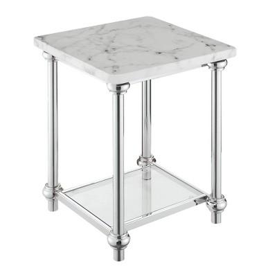 Roman II End Table Faux White Marble/Chrome - Breighton Home