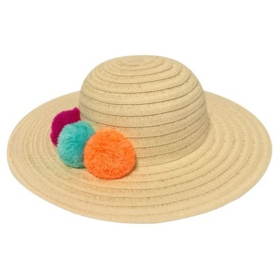 Baby Girls' Floppy Hat with Poms Cat & Jack™ - Natural 12-24M