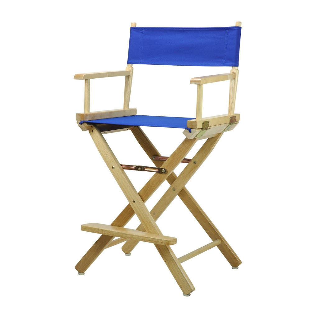 Director S Chair Counter Height Canvas Blue Natural Flora Homes