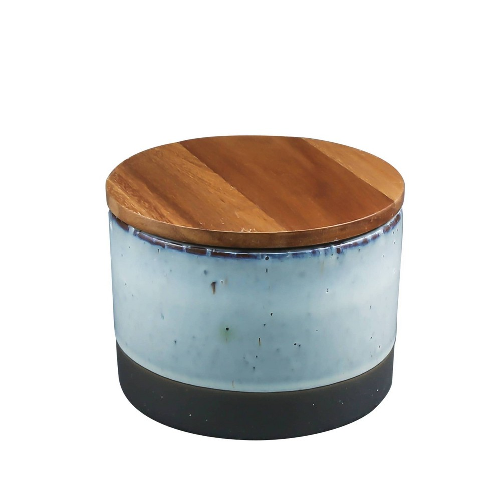 Image of 20oz Ceramic Canister with Acacia Wood Lid Brown - Thirstystone