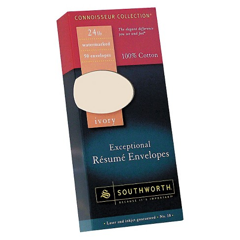 Resume Paper And Envelopes | Southworth Cotton Resume Envelope Ivory Target