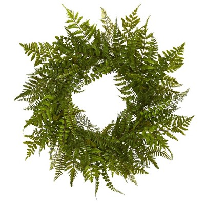"""24"""" Artificial Mixed Fern Wreath - Nearly Natural"""