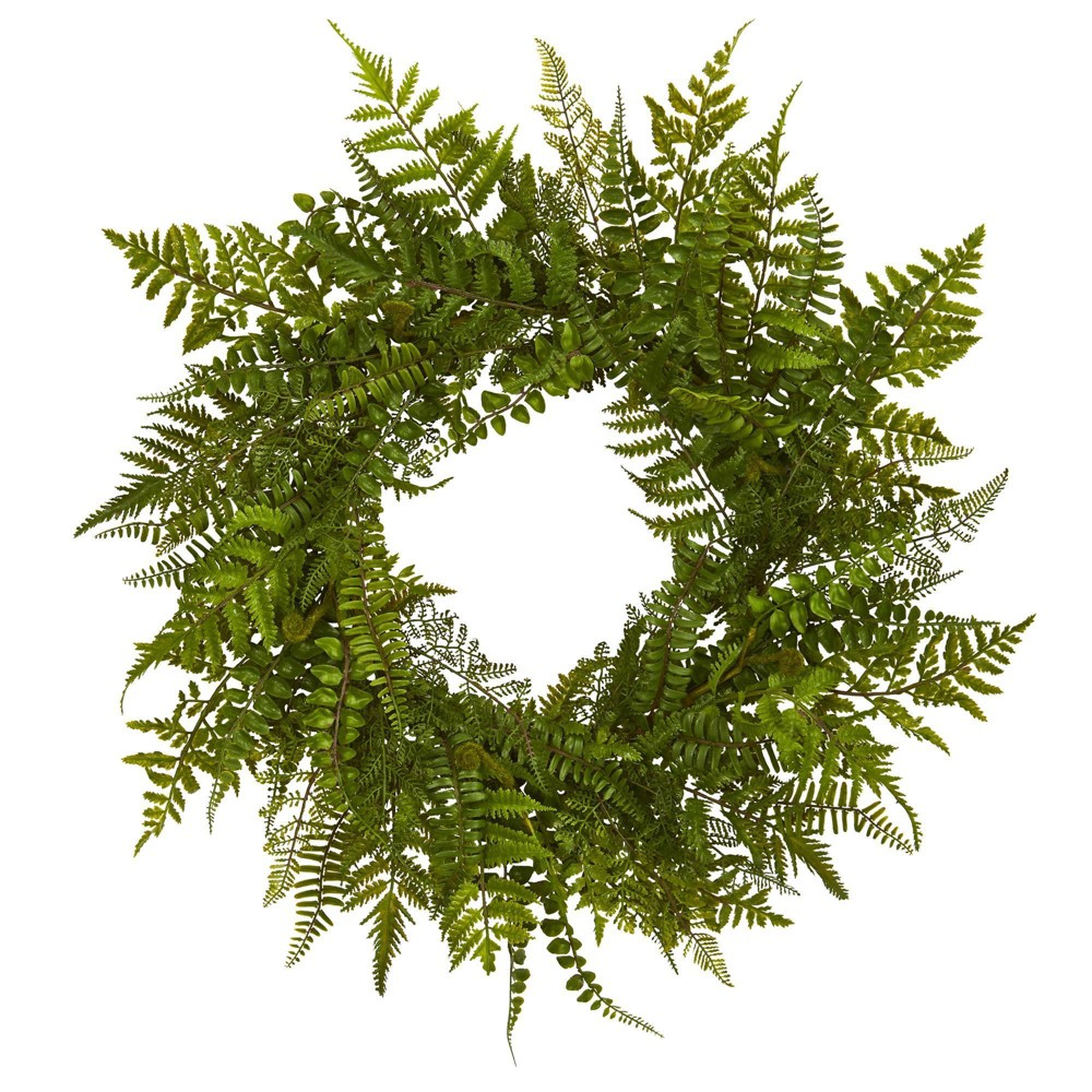 "Image of ""24"""" Artificial Mixed Fern Wreath Green - Nearly Natural"""
