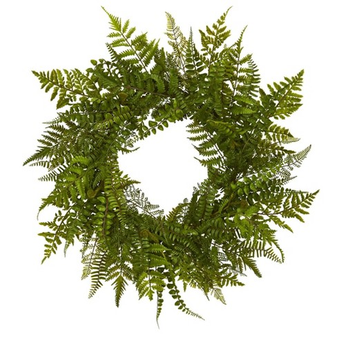 """24"""" Artificial Mixed Fern Wreath Green - Nearly Natural - image 1 of 1"""