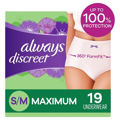 Always Discreet Incontinence & Postpartum Underwear for Women - Maximum Protection - S/M