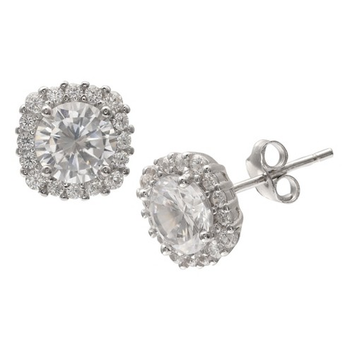 675674848 Women's Round Cubic Zirconia Stud Earrings With Pave Square Setting In  Sterling Silver - Clear/Gray (10mm) : Target